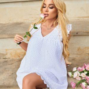 Купить по скидке белое летнее платье из прошвы (размер 42-52) для женщин