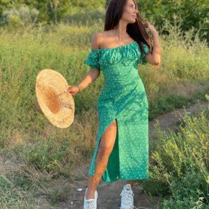 Купить зеленое женское платье миди с открытыми плечами (размер 42-52) дешево