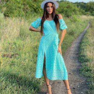 Купить недорого бирюзовое платье с разрезом из прошвы (размер 42-52) для женщин