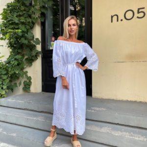 Приобрести женское белое платье макси с вышивкой (размер 42-52) в Украине