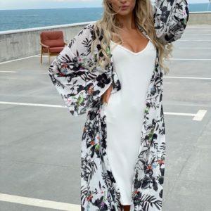 Заказать онлайн черно-белое платье тройка с шарфом (размер 42-52) для женщин