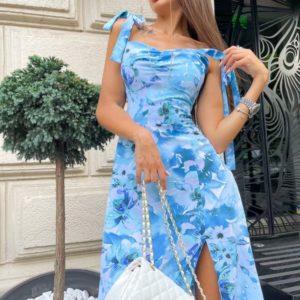 Заказать голубое женское платье в цветочный принт на завязках (размер 42-48) в Украине