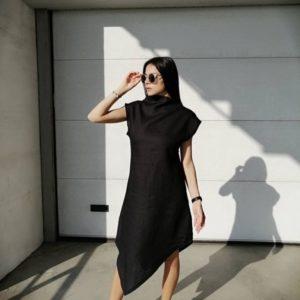 Купить по скидке черное асимметричное платье из льна для женщин