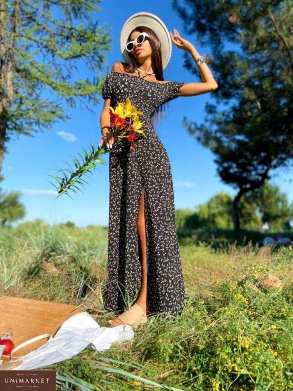Купить по скидке черное платье макси с открытыми плечами (размер 42-48) для женщин