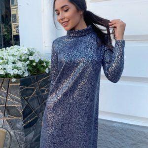 Купить синее платье из ангоры с напылением (размер 42-48) для женщин по скидке