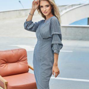 Заказать серое женское платье с необычными рукавами (размер 42-48) онлайн