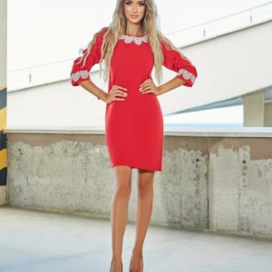 Купить красное платье с кружевными вставками для женщин недорого