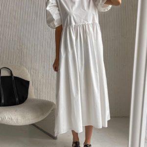 Заказать по низким ценам белое платье оверсайз из хлопка (размер 42-52) для женщин