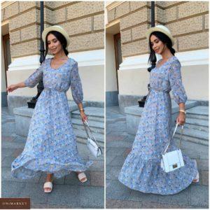 Замовити блакитне жіноче плаття в підлогу з шифону в квітковий принт (розмір 42-52) по знижці