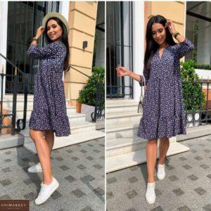 Купити синє жіноче вільне плаття в дрібний принт (розмір 42-52) в Україні онлайн