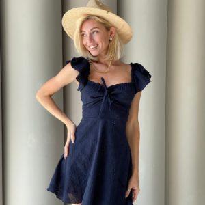 Купить в интернете женское хлопковое платье с вышивкой синего цвета