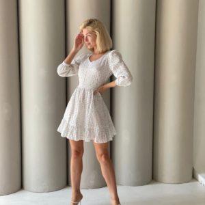 Придбати жіночу білу сукн в горошок з відкритою спиною (розмір 42-48) в Україні