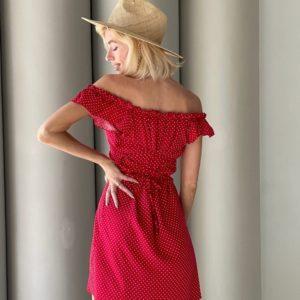Приобрести выгодно красное платье мини в горошек с открытыми плечами (размер 42-56) для женщин
