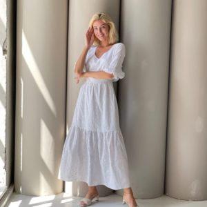 Купить женское в Украине хлопковое платье макси с открытой спиной (размер 42-48) белого цвета