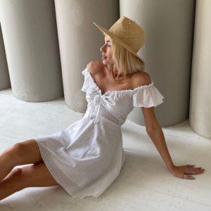 Купить белое женское платье из батиста в горошек в Украине