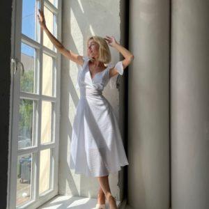 Купить белое платье для женщин миди с завязками (размер 42-52) онлайн