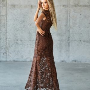 Заказать коричневое женское кружевное платье в пол (размер 42-48) дешево