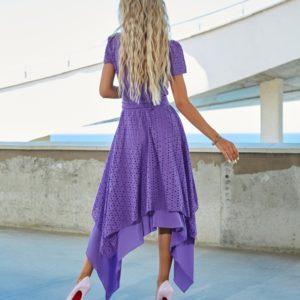 Купить фиолетовое женское асимметричное платье из прошвы (размер 42-54) по скидке