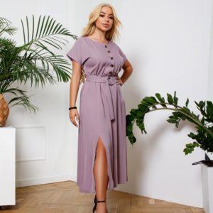 Купить женское лиловое платье с разрезом и поясом (размер 42-56) в Украине