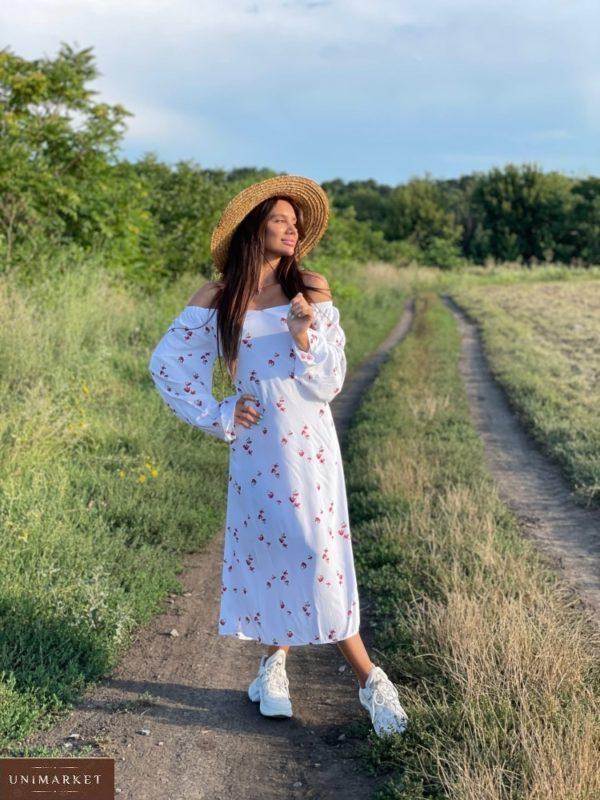Купить выгодно женское платье с открытыми плечами из штапеля (размер 42-52) белого цвета