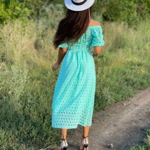 Приобрести женское бирюзовое платье с разрезом из прошвы (размер 42-52) в Украине