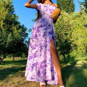 Купити зі знижкою бузкове плаття максі з відкритими плечима (розмір 42-48) жіноче