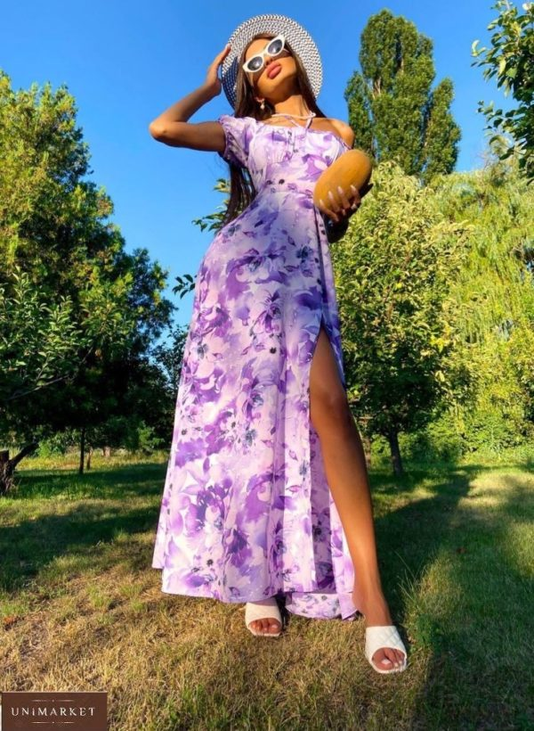 Купить по скидке лиловое платье макси с открытыми плечами (размер 42-48) женское