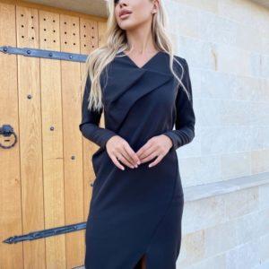 Заказать черное женское платье необычного кроя с длинным рукавом (размер 42-48) по скидке