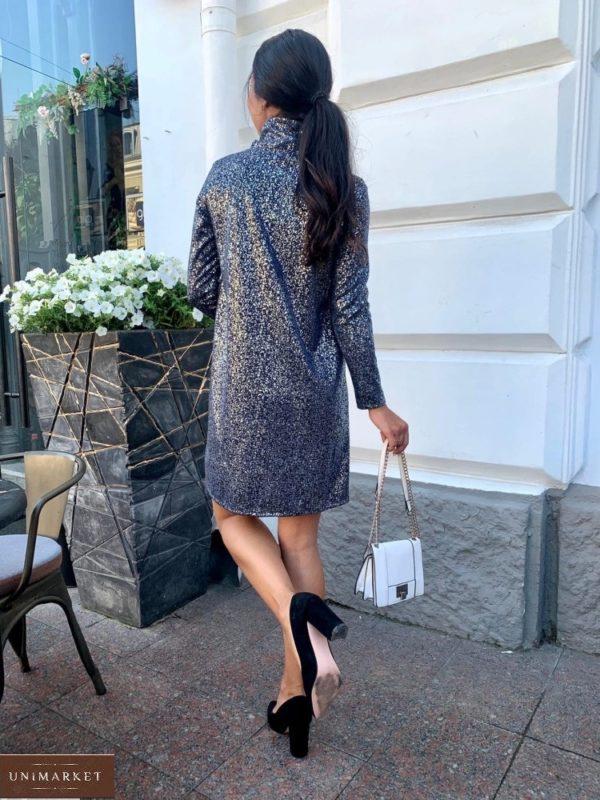 Заказать женское платье из ангоры с напылением (размер 42-48) синее недорого