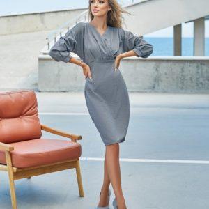 Купить по скидке женское платье с необычными рукавами (размер 42-48) серое