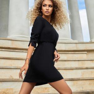 Купить онлайн черное трикотажное платье мини (размер 42-56) для женщин