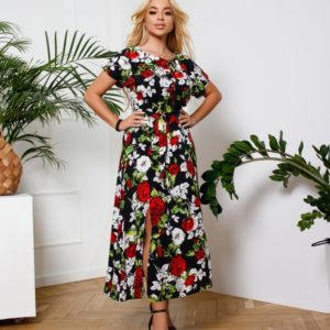 Приобрести розы женское платье с разрезом и поясом (размер 42-56) в интернете