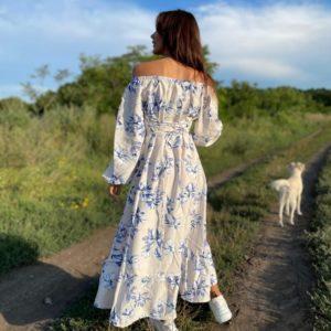 Приобрести белое женское цветочное платье с корсетной шнуровкой (размер 42-52) по скидке