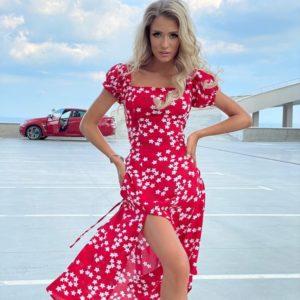 Заказать красное женское платье с открытыми плечами (размер 42-52) в интернете