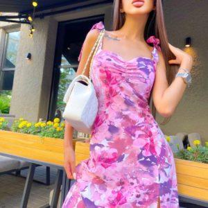 Заказать по скидке женское платье в цветочный принт на завязках (размер 42-48) розового цвета