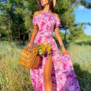 Замовити в інтернеті рожеве плаття максі з відкритими плечима (розмір 42-48) для жінок
