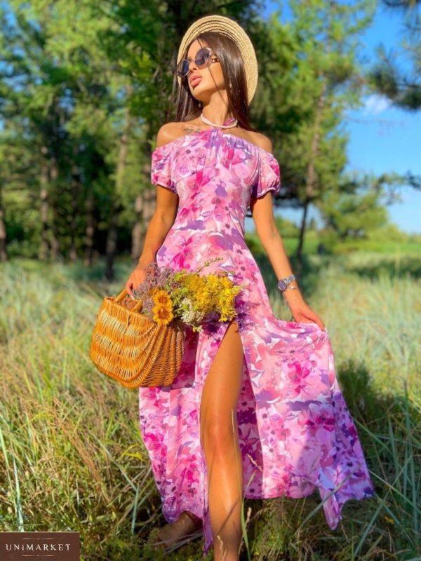 Заказать в интернете розовое платье макси с открытыми плечами (размер 42-48) для женщин