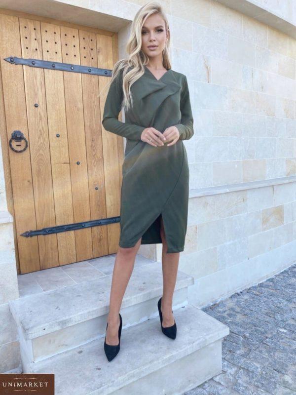 Приобрести хаки женское платье необычного кроя с длинным рукавом (размер 42-48) в интернете