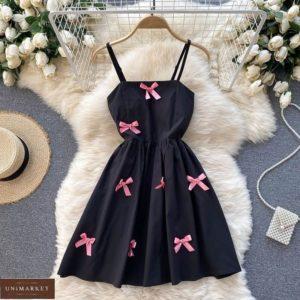Заказать черное женское платье на бретельках с бантиками онлайн