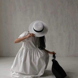 Купить онлайн белое платье оверсайз из хлопка (размер 42-52) для женщин