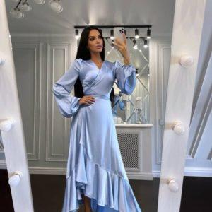 Придбати вигідно блакитне плаття з шовку на запах для жінок