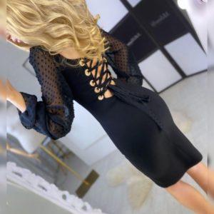 Купити онлайн чорну вечірню сукню з шифоновими рукавами жіноче