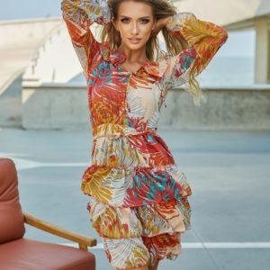 Замовити вигідно помаранчеве плаття з воланами і принтом (розмір 42-48) для жінок