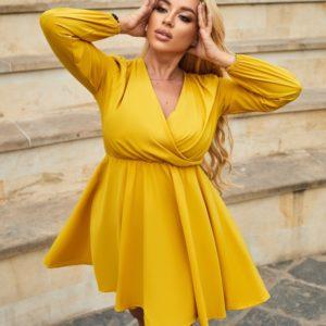 Приобрести по скидке желтое платье мини с длинным рукавом (размер 42-48) для женщин