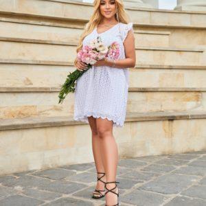 Приобрести выгодно белое летнее платье из прошвы (размер 42-52) для женщин