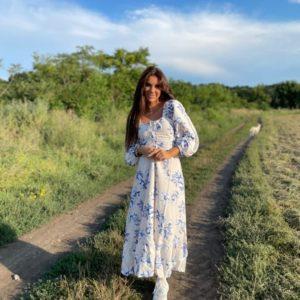 Заказать голубое женское цветочное платье с корсетной шнуровкой (размер 42-52) дешево