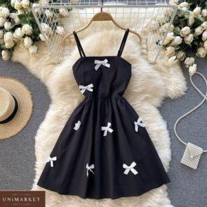 Купить дешево черное платье на бретельках с бантиками для женщин