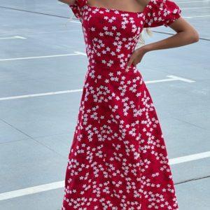 Приобрести женское красное платье с открытыми плечами (размер 42-52) онлайн