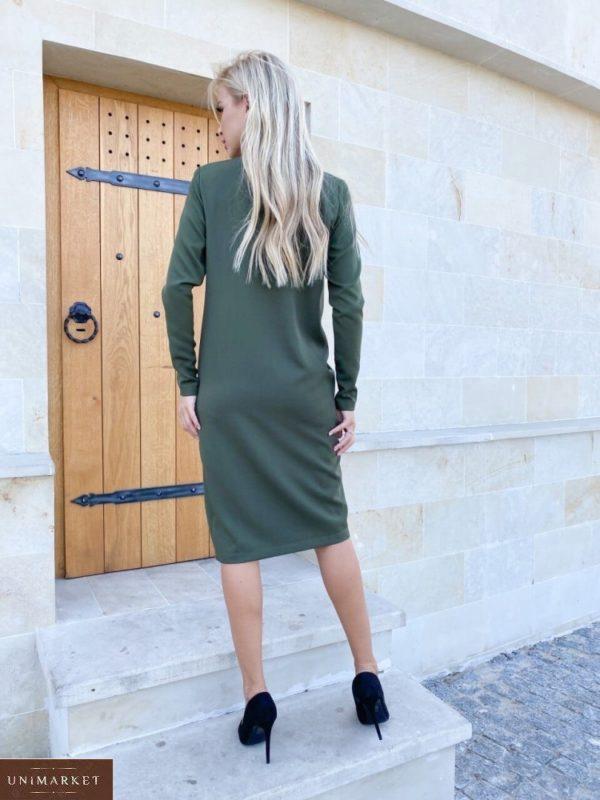 Заказать онлайн женское платье необычного кроя с длинным рукавом (размер 42-48) цвета хаки