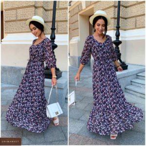Замовити чорне жіноче плаття в підлогу з шифону в квітковий принт (розмір 42-52) онлайн